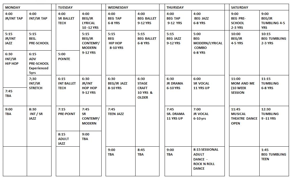 2020/2021 schedule